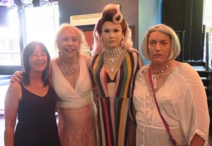Maxine, Martine, a drag star, and Rachel